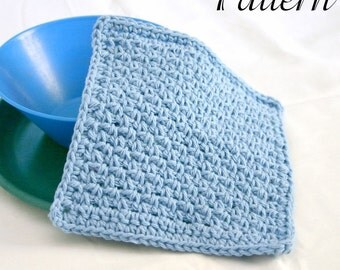 Crocheted dishcloth PDF PATTERN easy cotton traditional square kitchen cleaning home decor functional washing fast