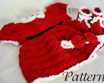 Baby Christmas dress PDF crochet PATTERN 0-6 month size infant girl costume photography prop winter december holiday festive