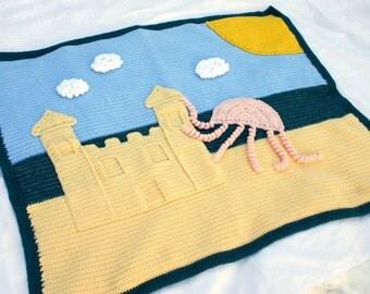 Crocheted afghan blanket summer beach scene clouds ocean sea blue white yellow jellyfish wall hanging rug sun warm season
