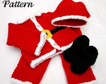 Baby Santa suit PDF crochet PATTERN 6-9 month size boy infant Christmas costume photography prop winter december festive holiday