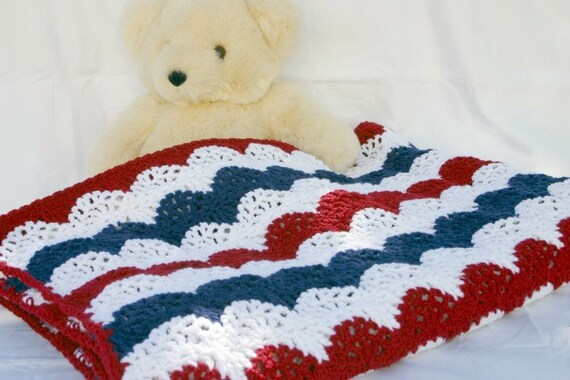 Patriotic afghan red white blue crocheted throw summer lap burgundy navy stripes beautiful lacy arches coverlet handmade washable