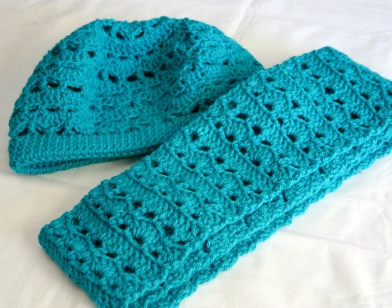 Blue beret and scarf set crocheted women's soft peacock fashion head covering neckwarmer neckwear washable
