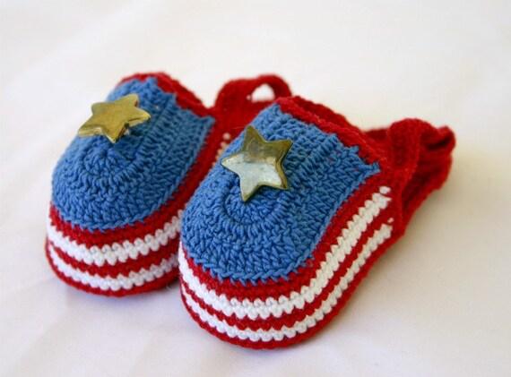 Patriotic baby sandals newborn crocheted shower gift 0-3 month infant booties cotton crochet thread summer footwear red white blue gold star