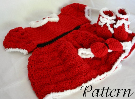 Free Crochet Pattern For Christmas Dress : Baby Christmas dress PDF crochet PATTERN 0-6 month size infant