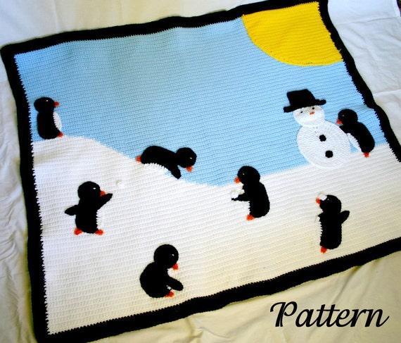 Penguin afghan PDF crochet PATTERN winter scene throw blanket critter bird snow sun snowman blue black white yellow playful cute home decor