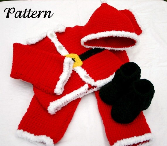 Baby Santa suit PDF crochet PATTERN 6-9 month size boy infant Christmas costume photography prop winter december festive holiday