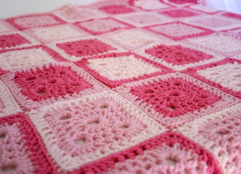 Crochet Patterns Granny Square Baby Blankets : Baby blanket afghan pink granny square crocheted shower gift
