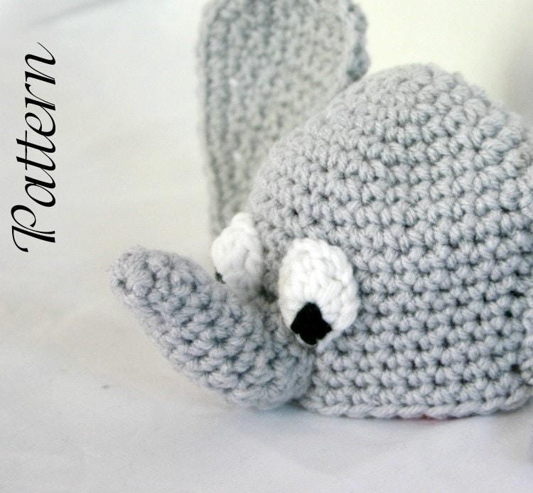 Crochet Pattern For Baby Elephant Hat : Baby elephant hat PDF Crochet Pattern newborn-2 months beanie