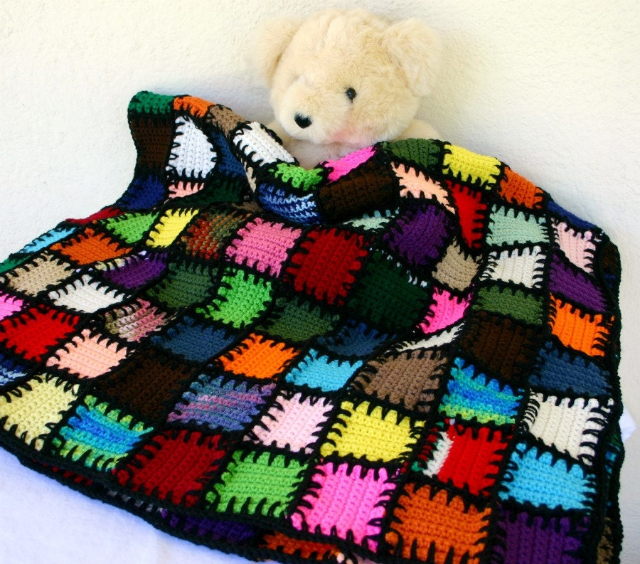 Free Crochet Afghan Patterns For Leftover Yarn : Scrap yarn afghan colorful crocheted lap throw blanket shabby