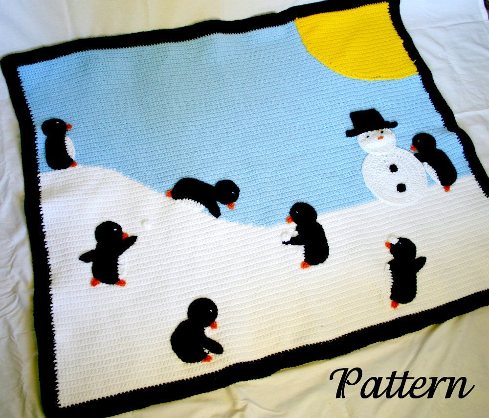 Penguin afghan PDF crochet PATTERN winter scene throw blanket