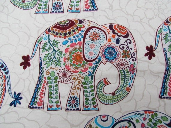 "18"" Cushion Cover - Marrakech Elephants - eggshell"