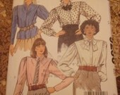 McCalls 9236 Vintage 1984 Pattern Misses Blouse and Tie Princess Diana Style 1980s