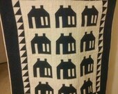 Quilted Navy Blue Schoolhouse Wall Hanging