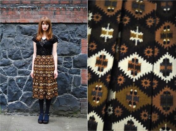 60's JAEGER Kilim Print Full Skirt w/Pleats