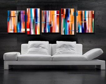 Large Abstract Painting, Original painting, Red Orange Blue Abstract 24x72 6 Feet, HUGE Original Painting, stripes painting, colored lines