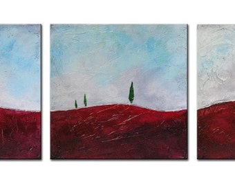 Original Abstract Textured Painting ,Burgundy Landscape, Red Landscape, Tuscany painting, Original Painting, Red landscape, Red Hills