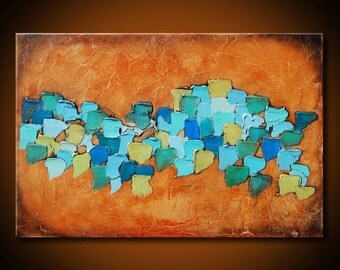 TEAL AND BLUE Abstract painting,Large Abstract Mixed Media Painting Heavy Textured,Textural art,rust painting,large rustic painting,abstract