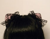 Lacy Changeable Magnetic/Attachable/Detachable/Bendable Tachi Ears - Black and Pink