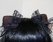 Lacy Changeable Magnetic/Attachable/Detachable/Bendable Tachi Ears - Black and Brown