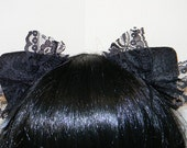 Lacy Changeable Magnetic/Attachable/Detachable/Bendable Tachi Ears - Black and Black