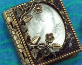 Frosted Glass Cameo-Miniature Book Pin with a readable story inside