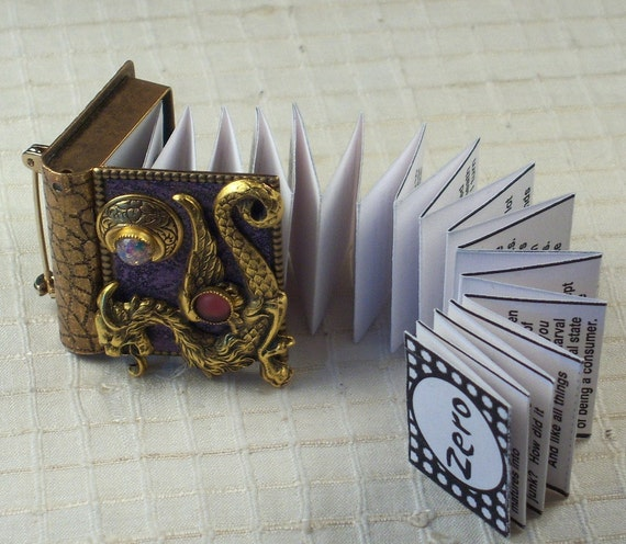 Dragon and New Moon-miniature book pin with a readable story inside