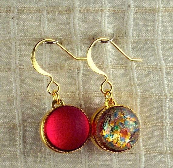 Ruby frosted glass set against glass multi-colored glass opals