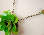 Pelotonia Fundraising Sale- Vintage Green Flower Necklace