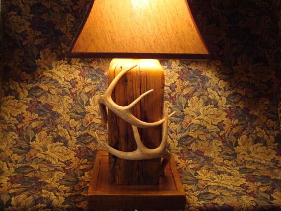 barnwood and deer antler lamp by oldbearcreek on etsy