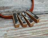 Botanical Necklace - Reclaimed Oak and Leather with 1800s Medical Book Decoupage