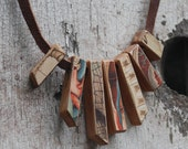 Anatimical Necklace: Reclaimed Oak and Leather, Chromolithograph from 1800s.