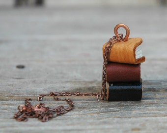 Stacks Book Necklace: Autumn Trio by Peg and Awl