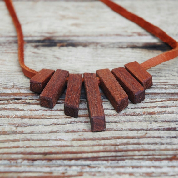 Reclaimed Mahogany and Leather Necklace