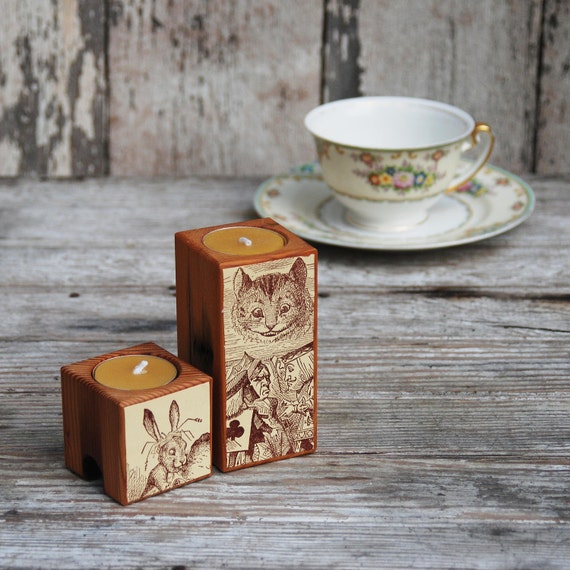 Candle Block Set: Alice in Wonderland no. 5. Reclaimed wood, Paper, Beeswax.