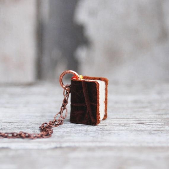Book Necklace: Antique alligator purse - 1 left