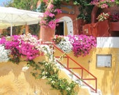 Yellow Stucco House with Bougainvillea, Oia, Santorini, Greece - High Quality Original Digital Photograph, Perfect for Framing