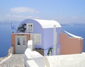 Blue and Pink Stucco House with White Wall, Oia, Santorini, Greece - High Quality Original Digital Photograph, Perfect for Framing