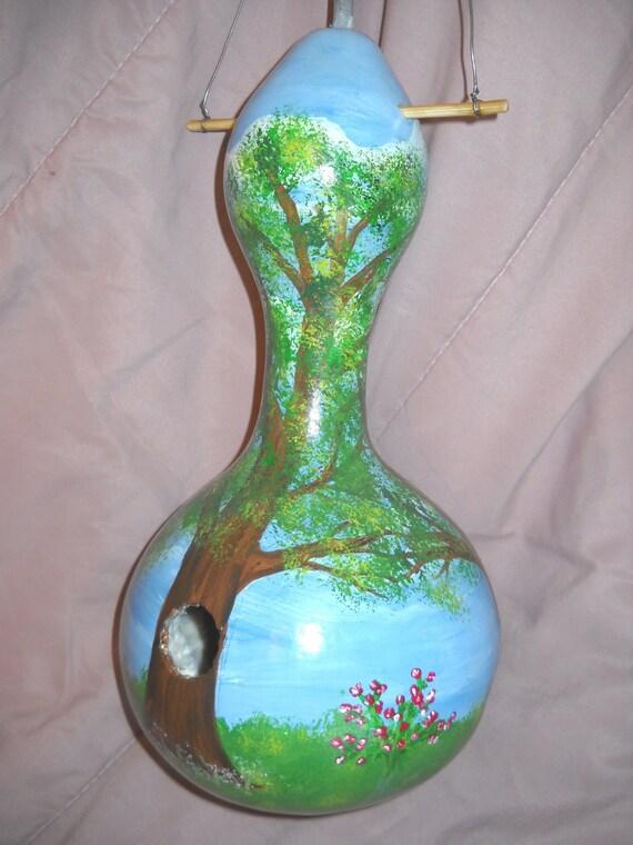 Custom Painted Gourd - woodland scene