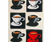 Black, White and Red Coffee Cups - original 3D collage