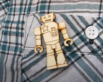 Robot Wooden Brooch