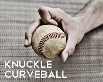 Knuckle Curveball Pitch Black & White Photo Baseball pitches Boys Art Series