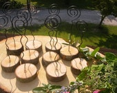 Only 2.99 each..10 Large Wedding Table number holders / Place card holders / Name card holders  ( RUSTIC WIRE CURL Earthed  in  Wood )
