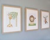 Safari Animals Children's Prints - Set of 3