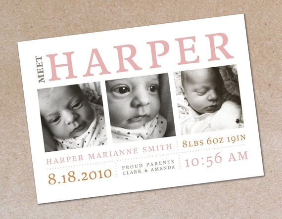 Modern Photo Birth Announcement - Boy or Girl