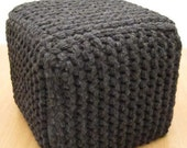 Plush Knitted Ottoman and Seat - Charcoal SALE