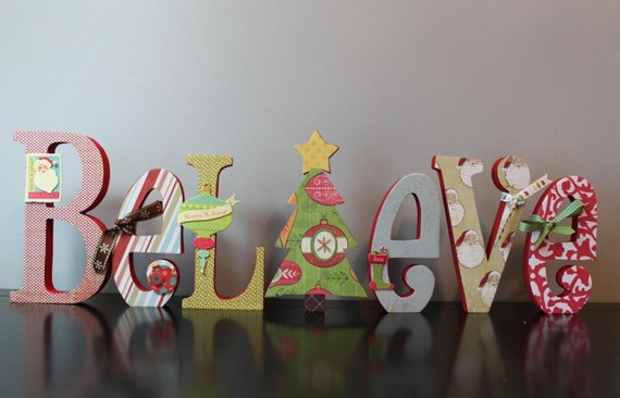 Wooden Letter Christmas Tree Decorations : Christmas decoration believe decorated wooden letters