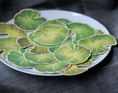 Green Lily Pad Leaves- Small Sized - Prints of Original Watercolors - Events - Weddings - Crafts - Place cards - Escort Cards