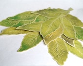 Green Elm Leaves - Hand cut prints of original watercolor leaves-Wedding - Event decoration