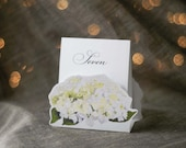 White Hydrangea Table Number Tents -  Decoration for Events, Weddings, Showers, Parties