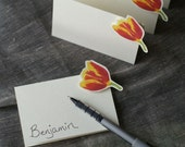 Red and Yellow Tulip - Place Card - Escort Card - Gift Card -  Menu Card -weddings events